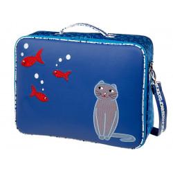 Valise de voyage enfant chat bleue