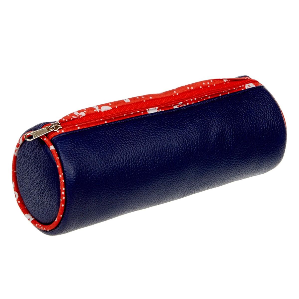Trousse ronde bleu et rouge
