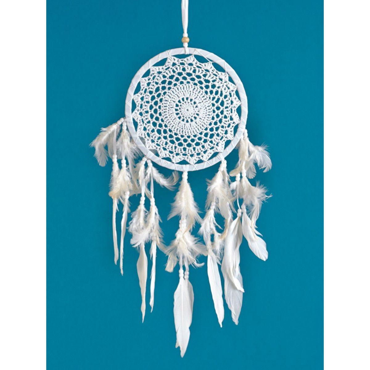 Attrape-rêve crochet et plumes blanc