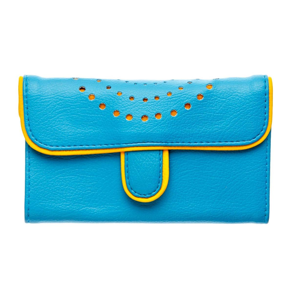 Portefeuille femme bleu et jaune