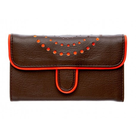 Portefeuille femme orange et marron