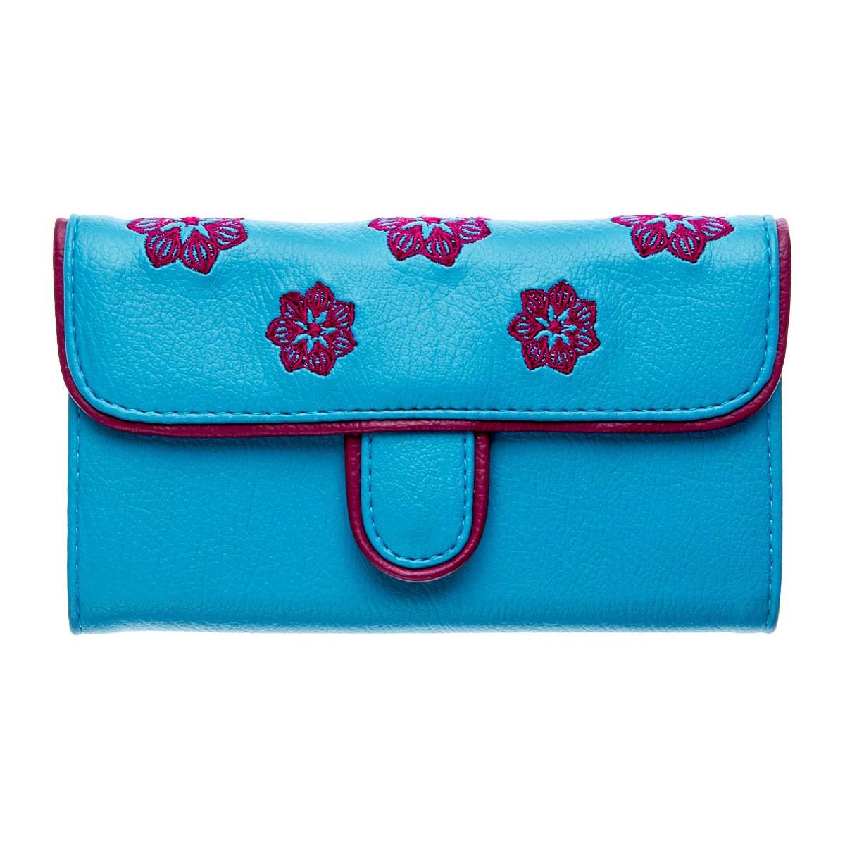 Portefeuille femme bleu et violet