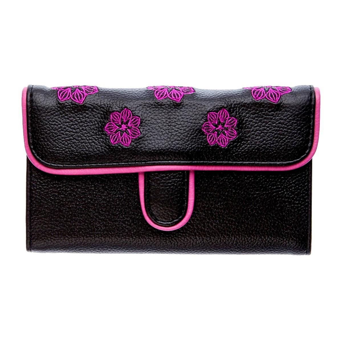 Portefeuille femme coloré noir et fleurs