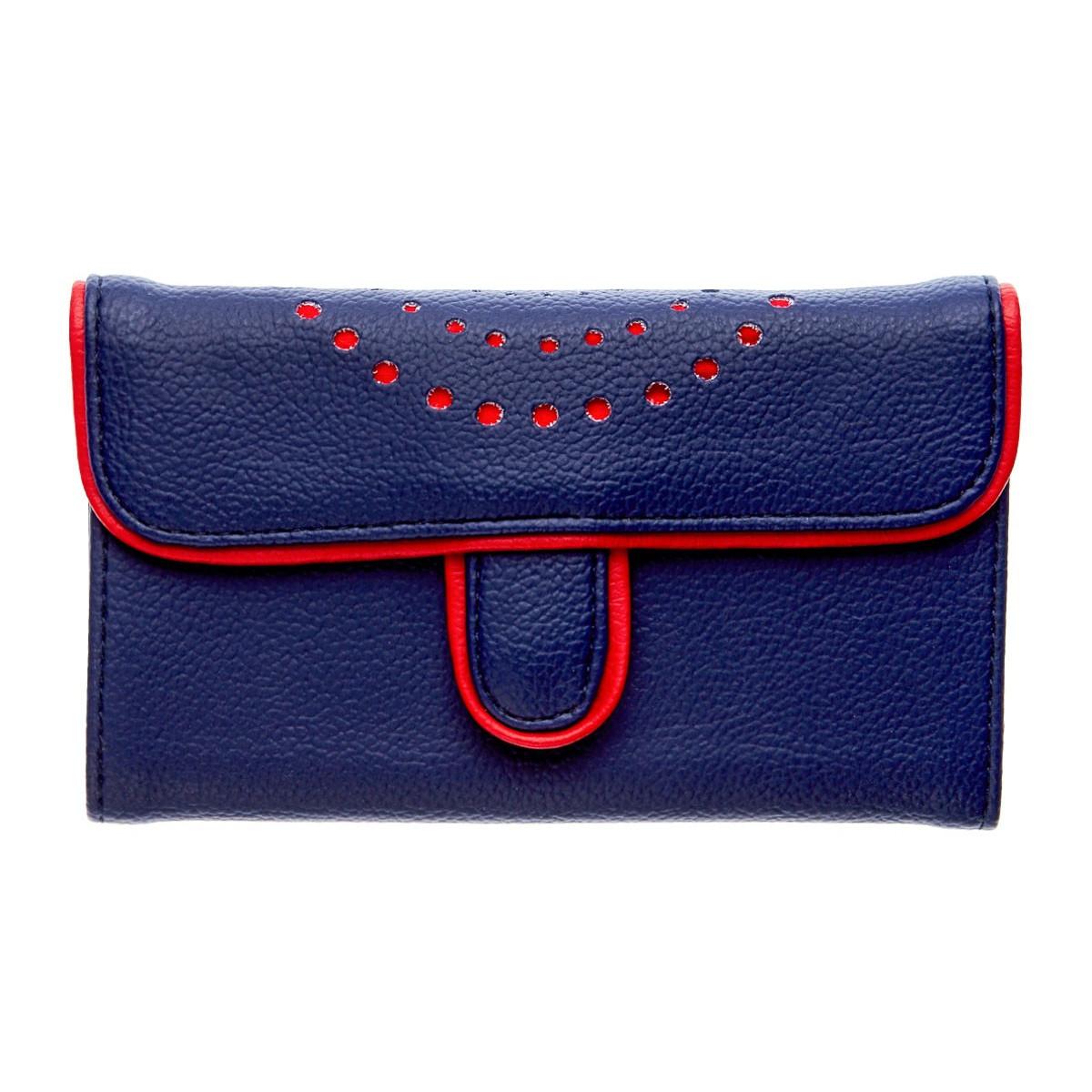 Portefeuille femme cerise rouge et bleu