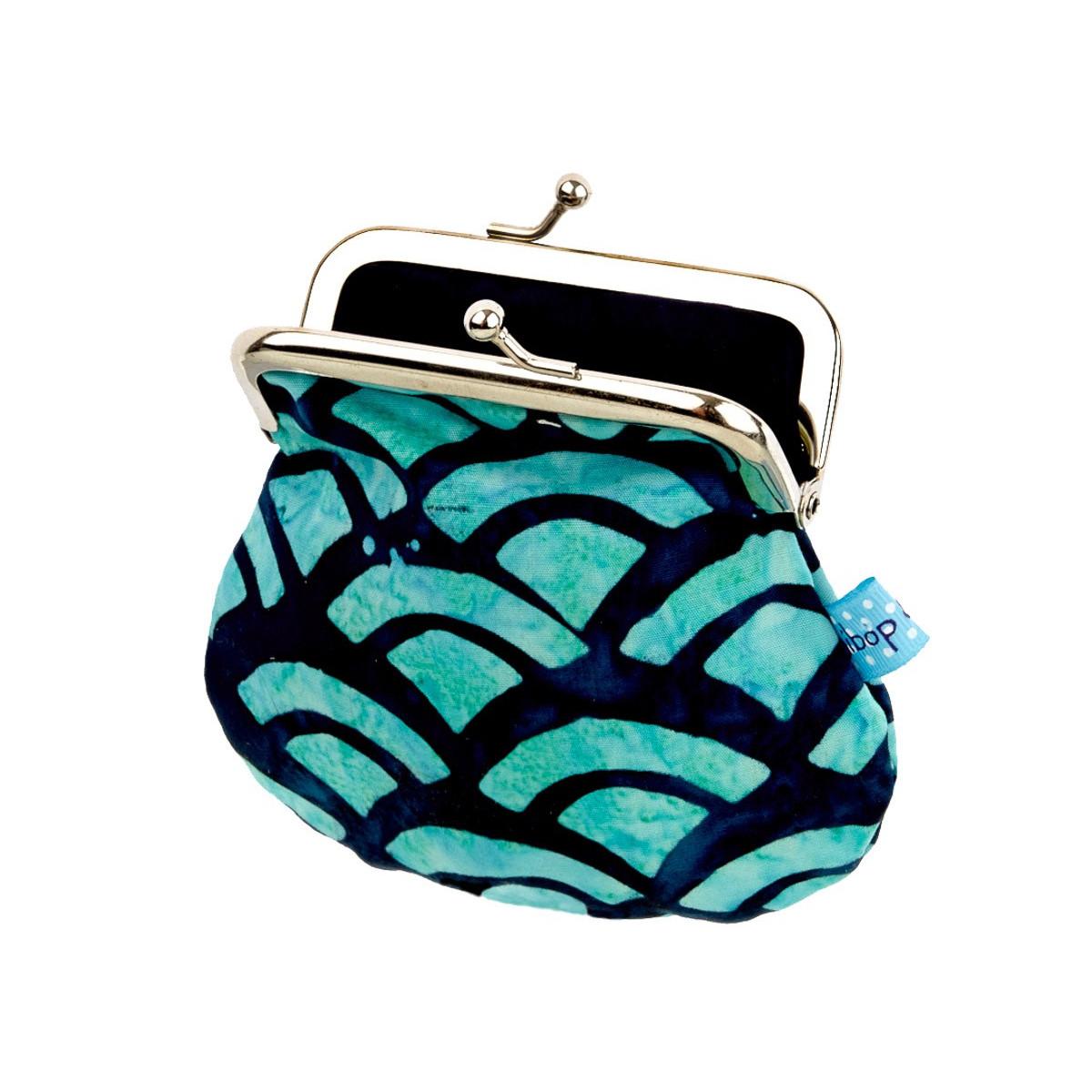 Petit porte-monnaie rétro à clip bleu