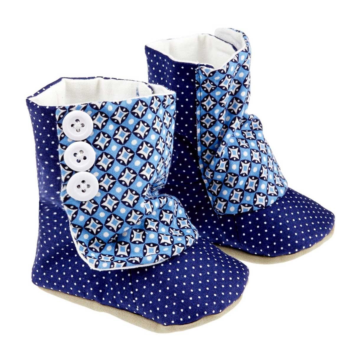Bottines chaussons souples bébé bleu