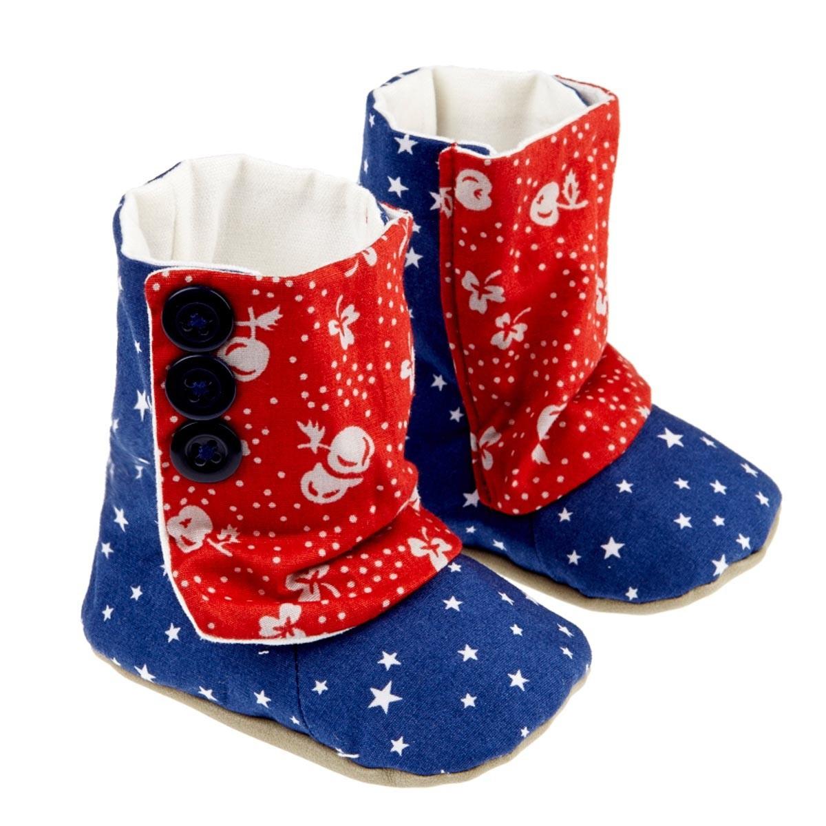 Bottines chaussons souples bébé bleu et rouge étoile