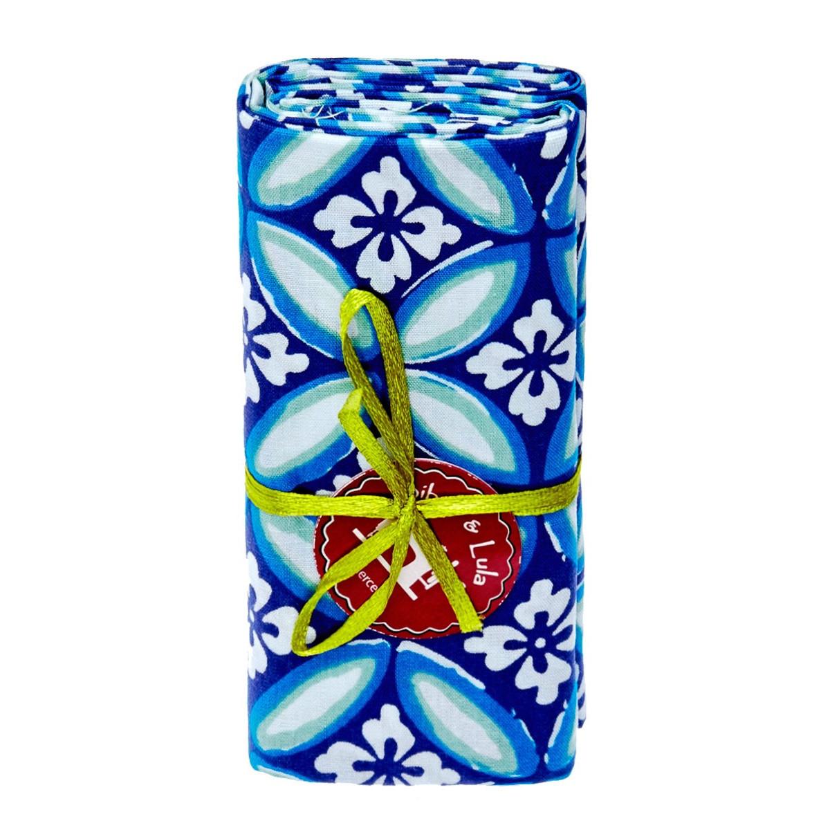 Coupon tissu azulejos bleu