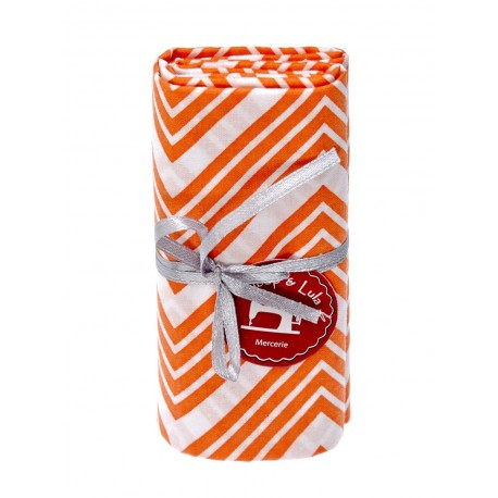 Coupon tissu zig zag orange