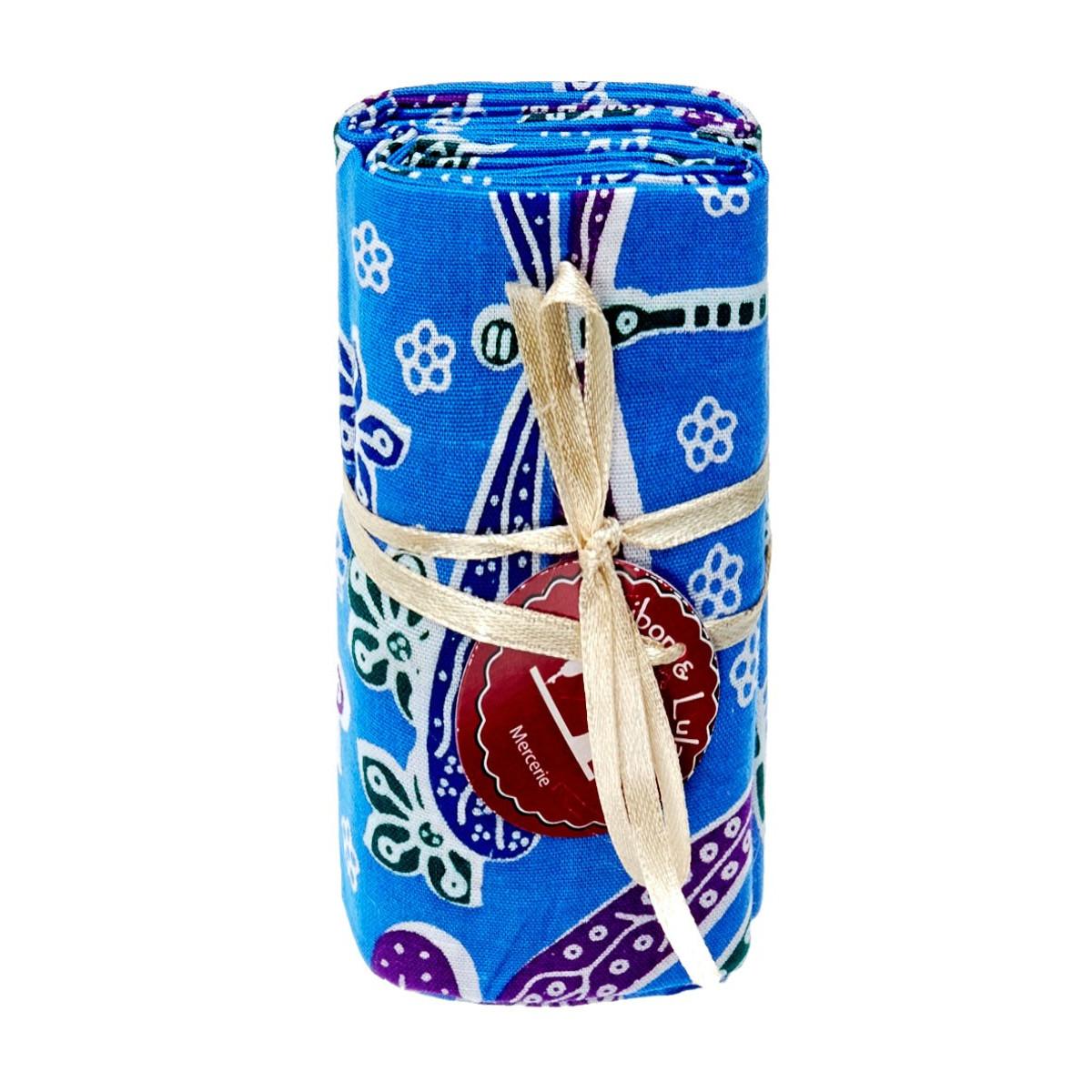 Coupon tissu libellule bleu