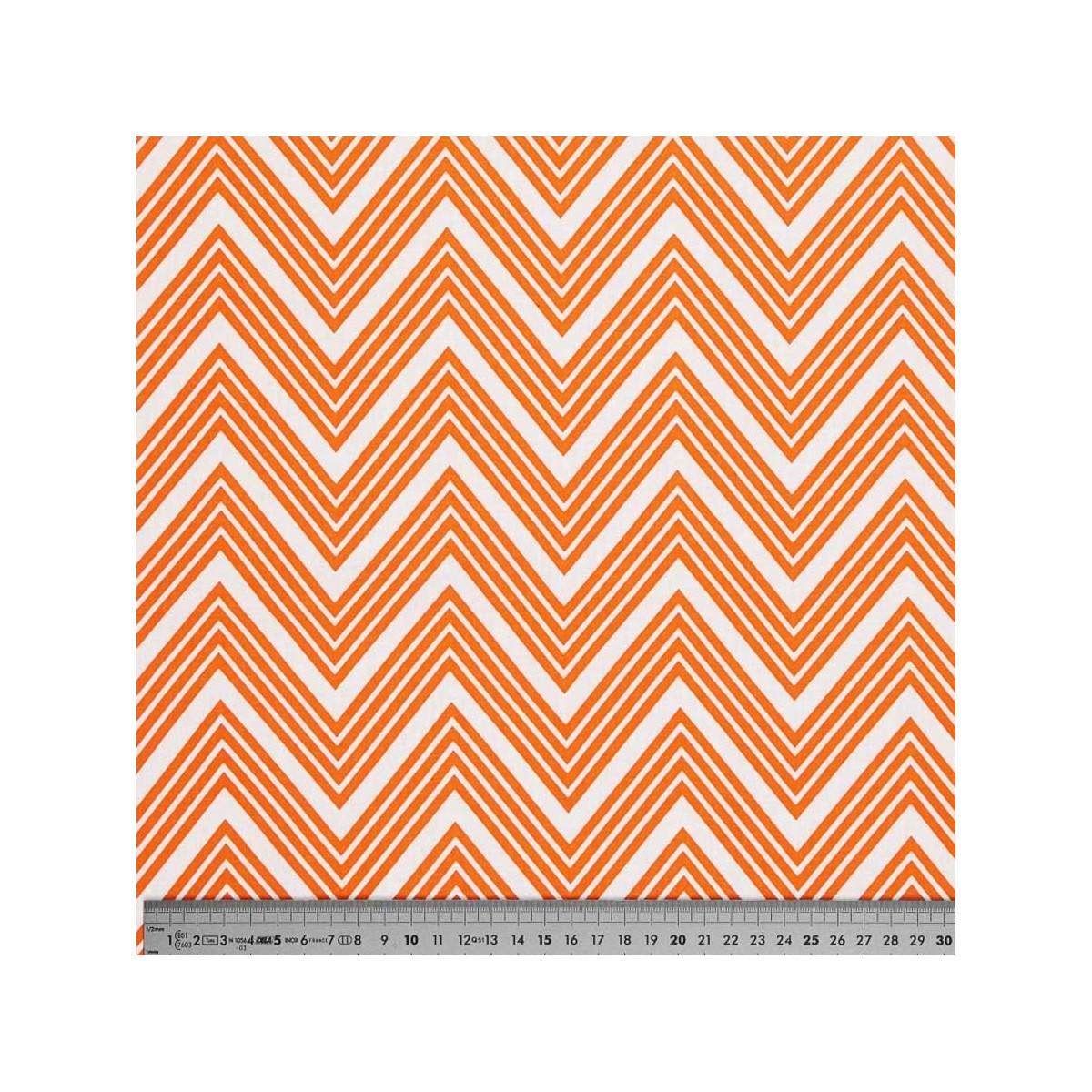 Tissu coton zig zag orange