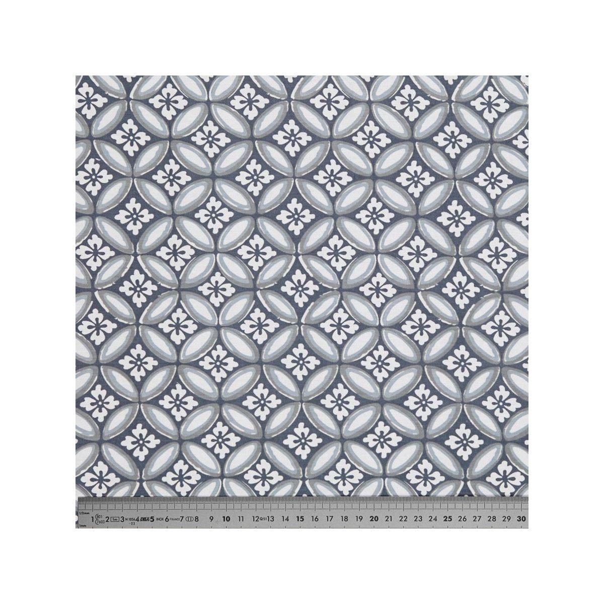 Tissu coton azulejos gris