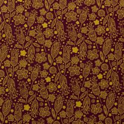 Tissu coton capucine chocolat