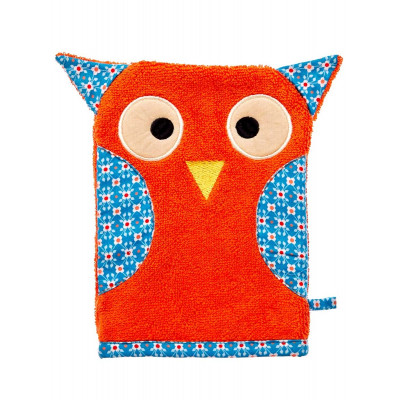 Gant de toilette animaux Hibou orange