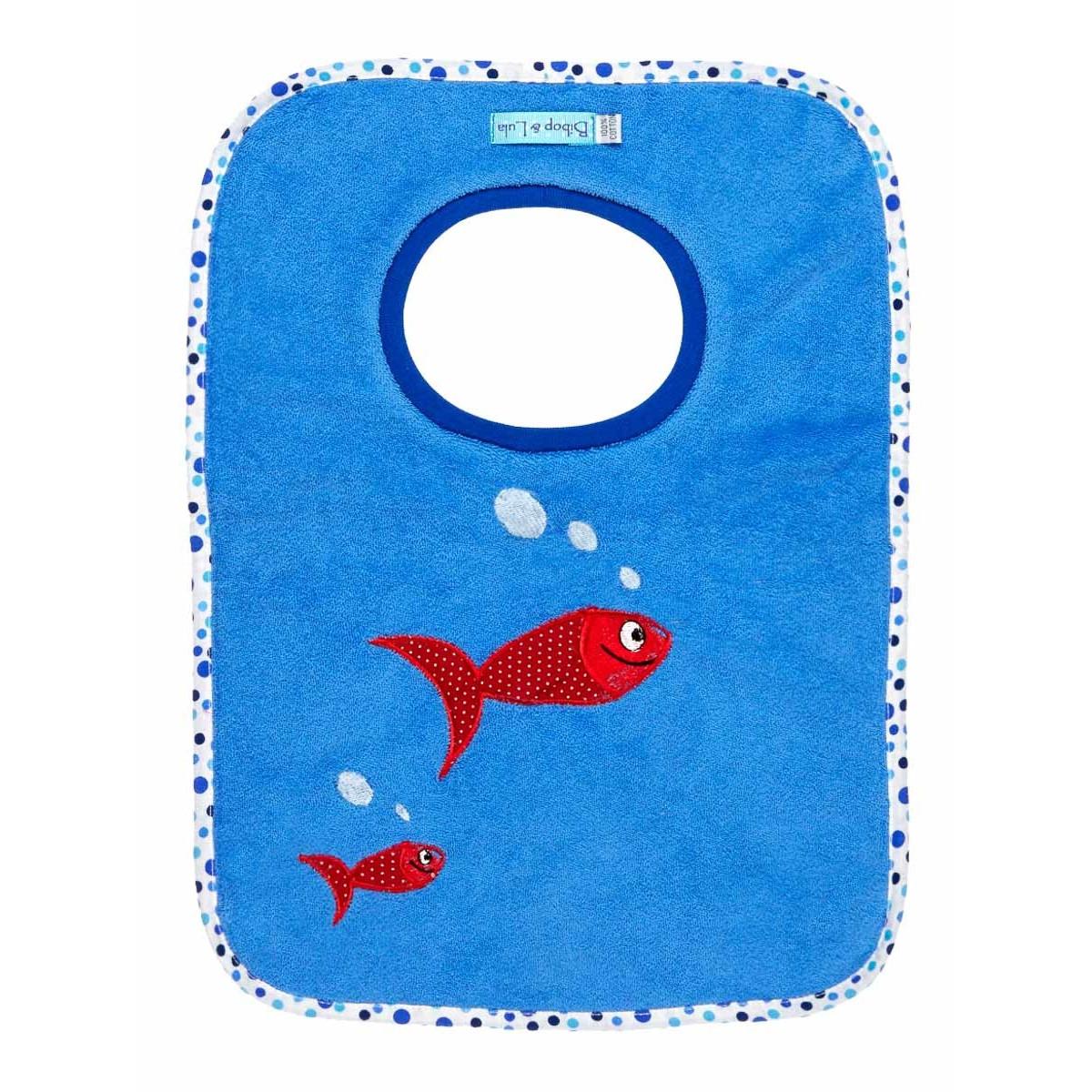 Bavoirs élastiques école maternelle bleu et poisson rouge