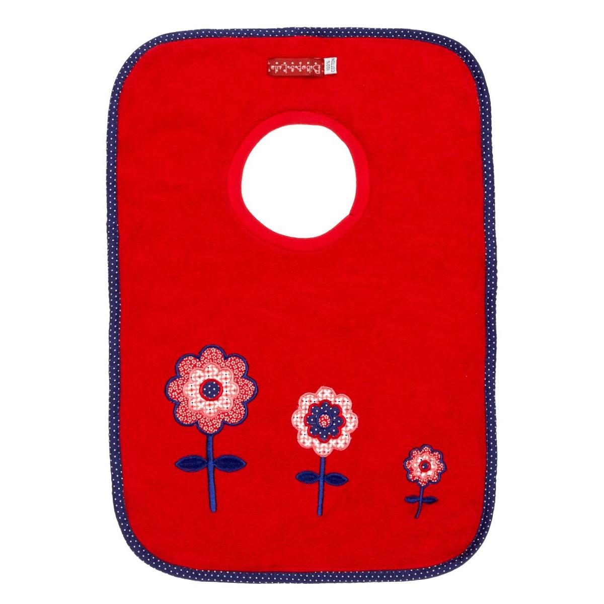 Bavoirs élastiques coton fleurs rouge