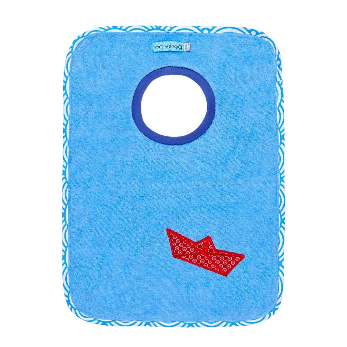 Bavoir élastique bateau bleu