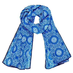 Foulard femme coton bleu Mandalas