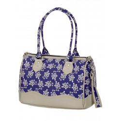 Sac satchel tissu bleu fleurs Dandelion