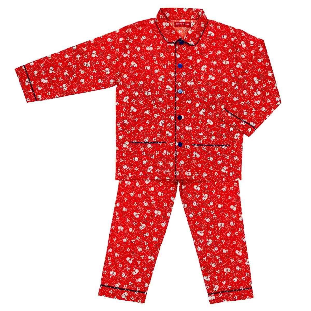 Pyjama enfant coton rouge cerise