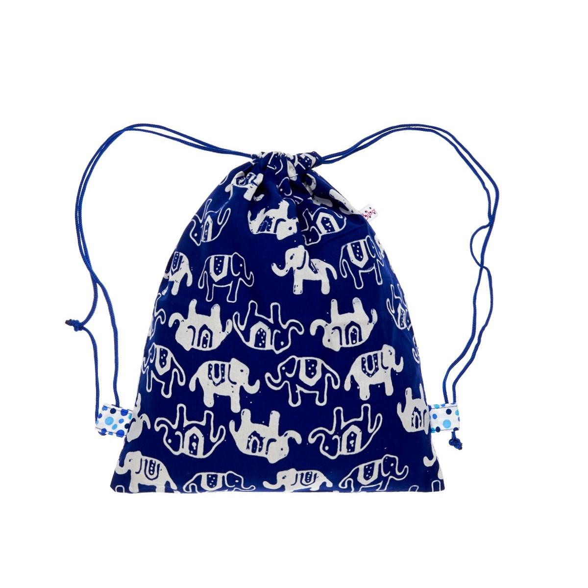 Sac baluchon enfant tissu éléphant bleu