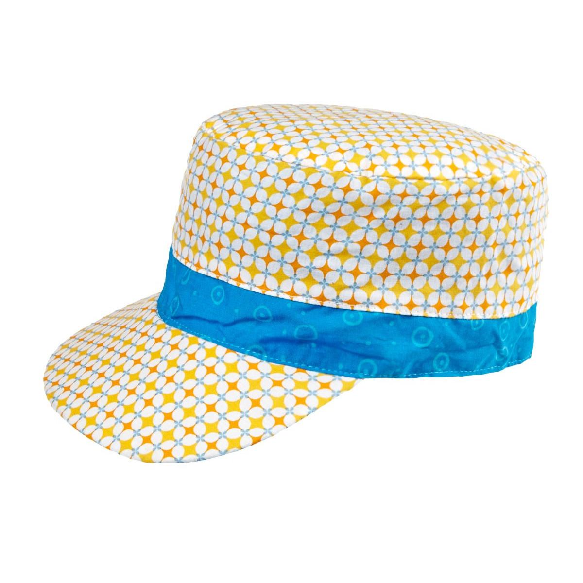 Casquette enfant coton réversible jaune et bleu Manille