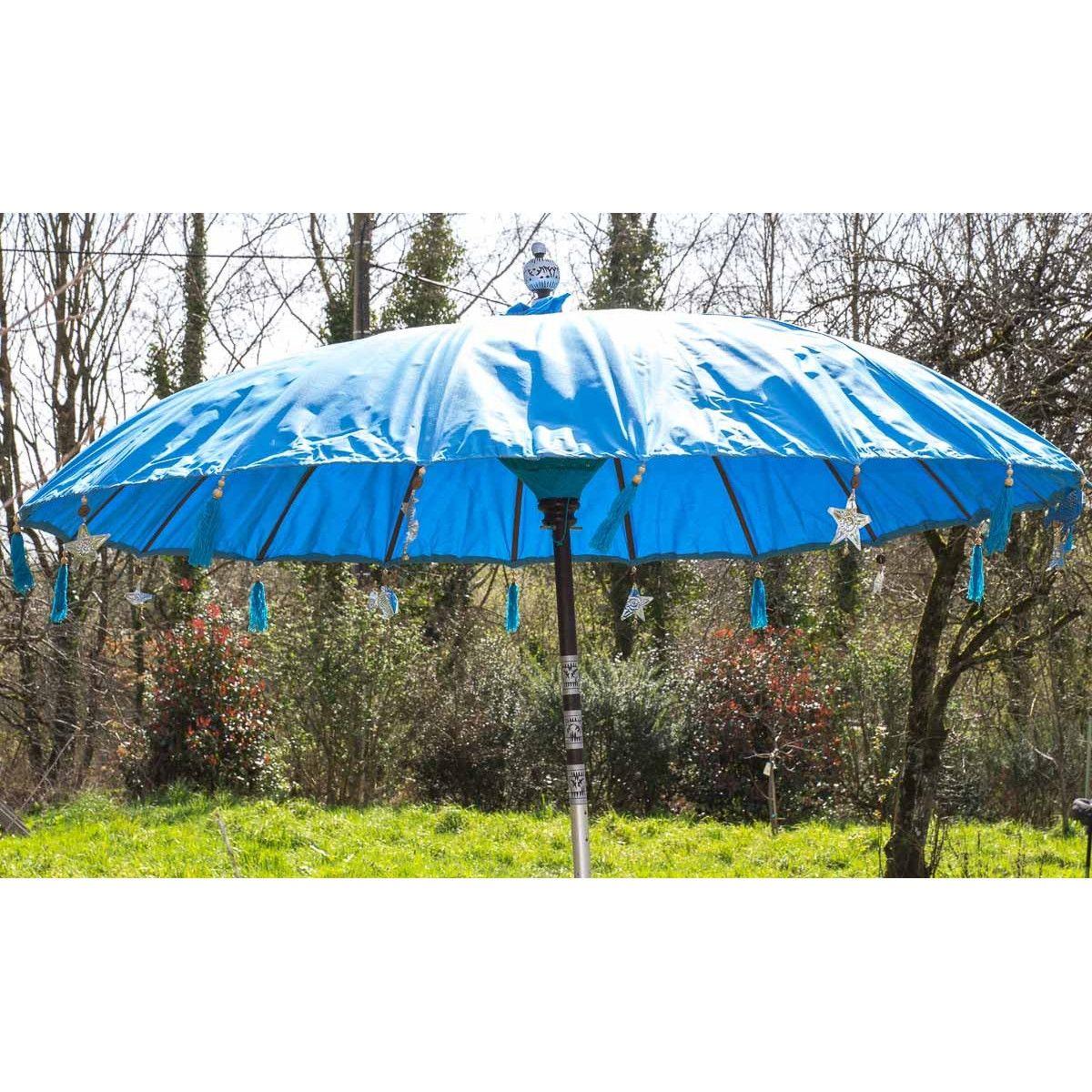 Parasol balinais écru toile imperméable diam:190cm