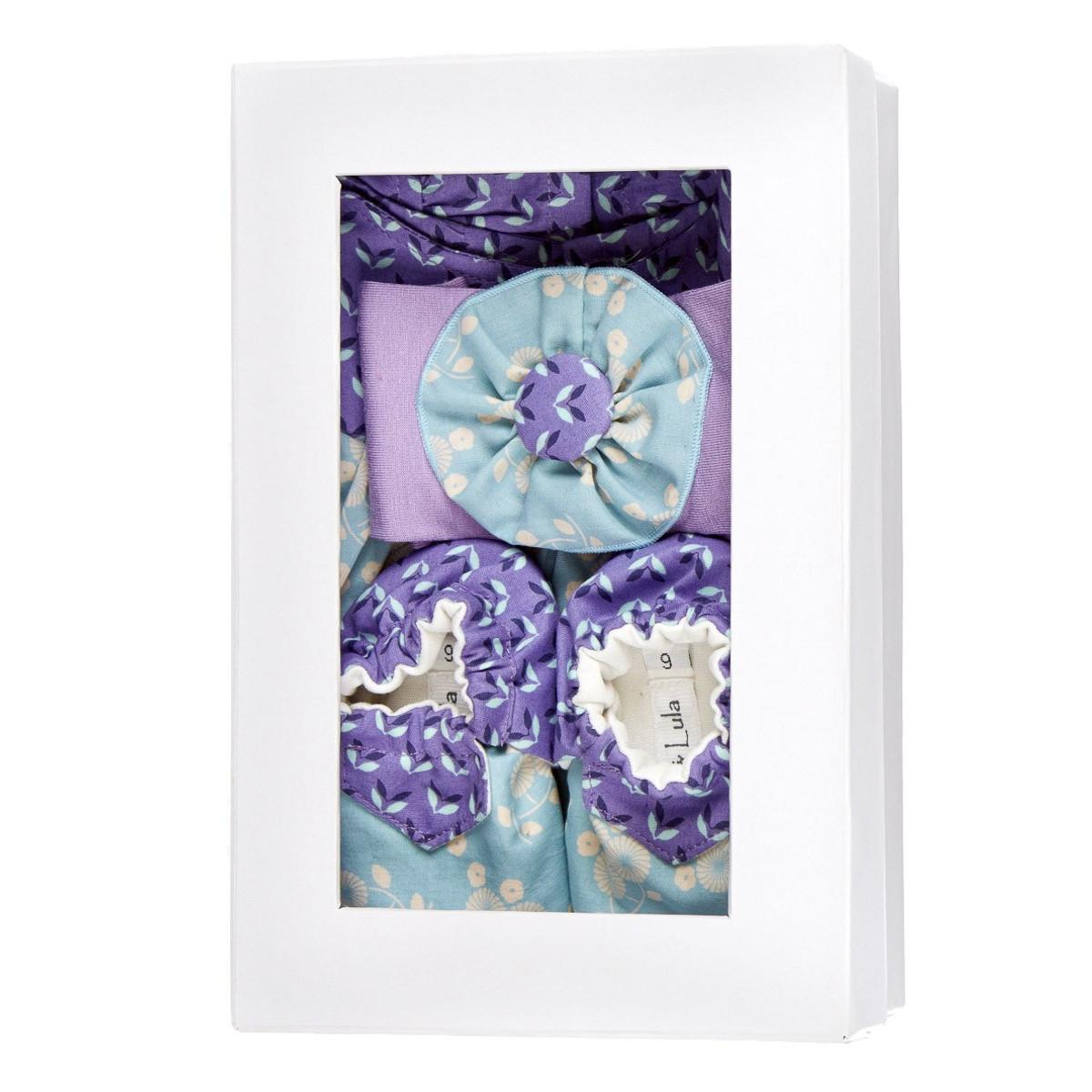 Coffret de naissance fille 0-6 mois bleu et violet