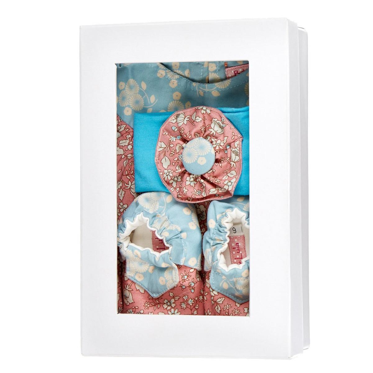 Coffret de naissance fille 0-6 mois rose et bleu