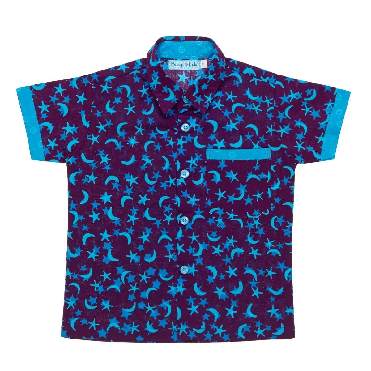 Chemise coton garçon 2-8 ans bleu Manille