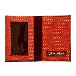 Porte-cartes femme original fantaisie marron petit pois