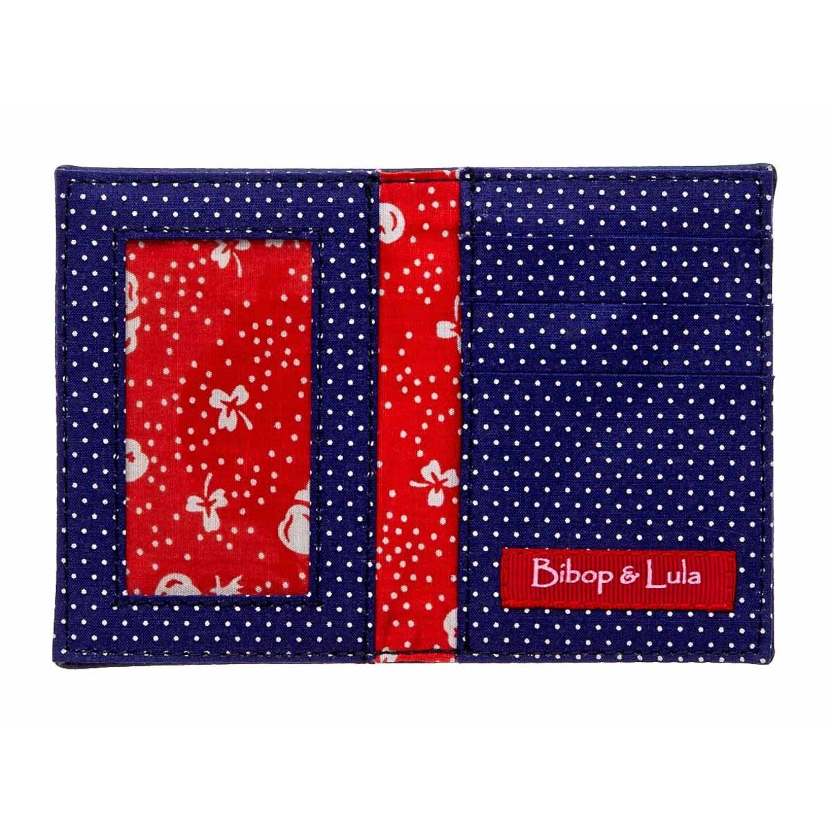 Porte-cartes femme original fantaisie rouge et bleu
