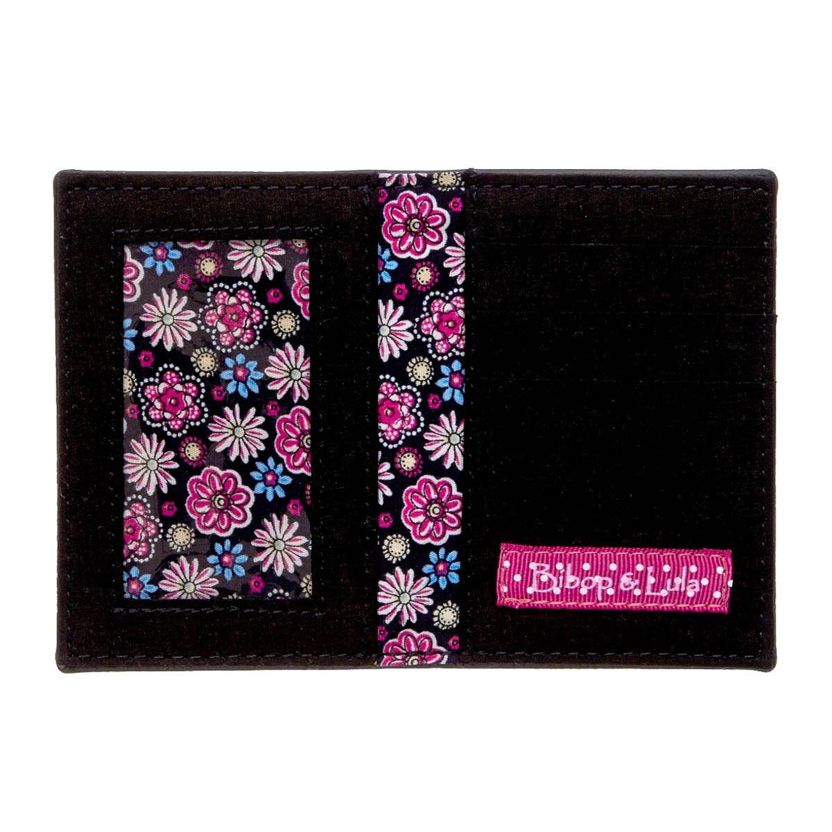 Porte-cartes femme original fantaisie noir fleurs
