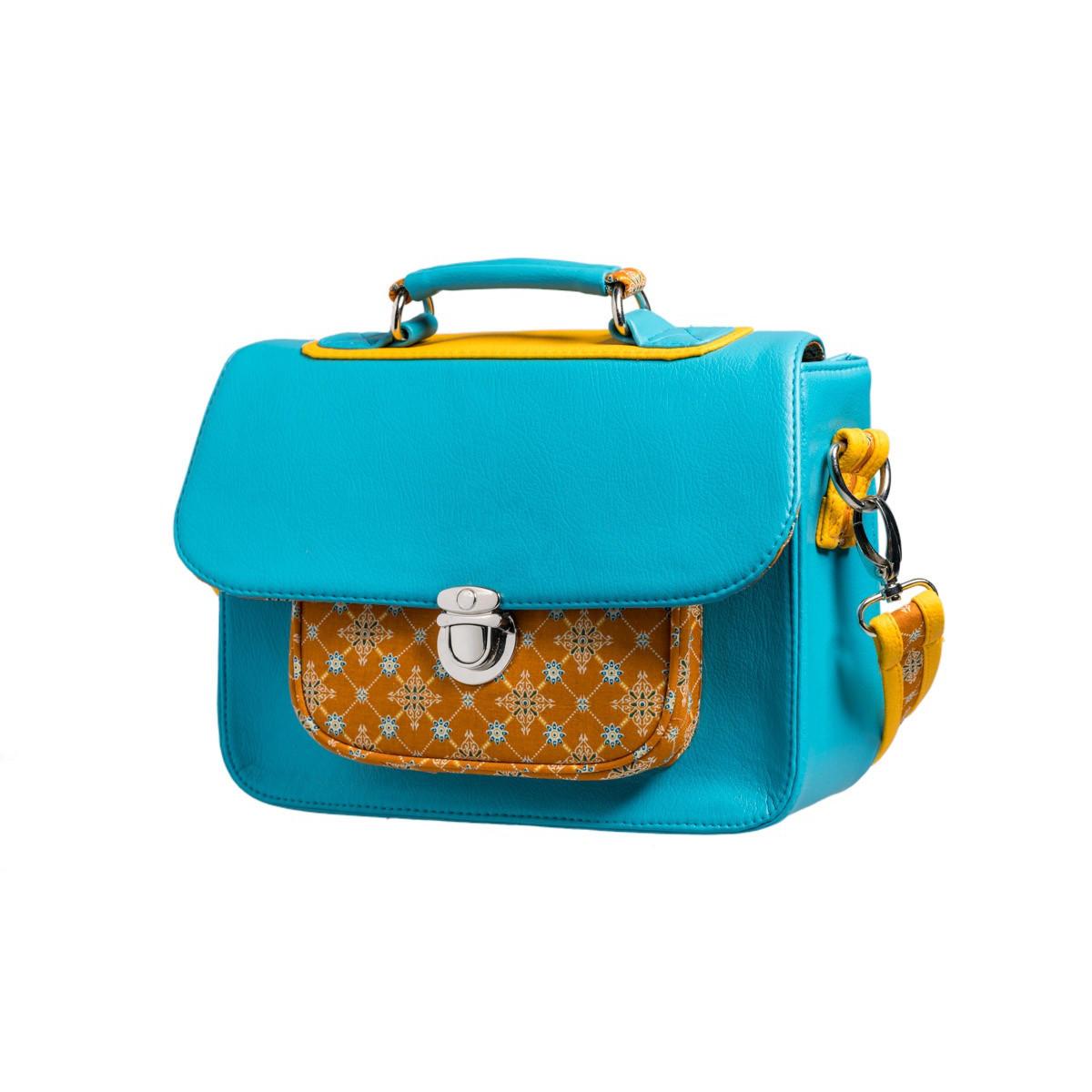 Sac-a-main-femme-style-cartable-turquoise-et-ocre-jaune