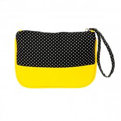 Pochette femme de soirée manis jaune et noir Black dots
