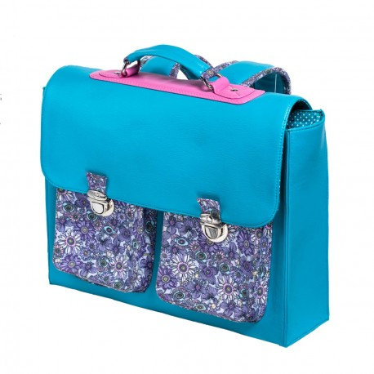 Cartable primaire fille bleu et violet fleurs Lola