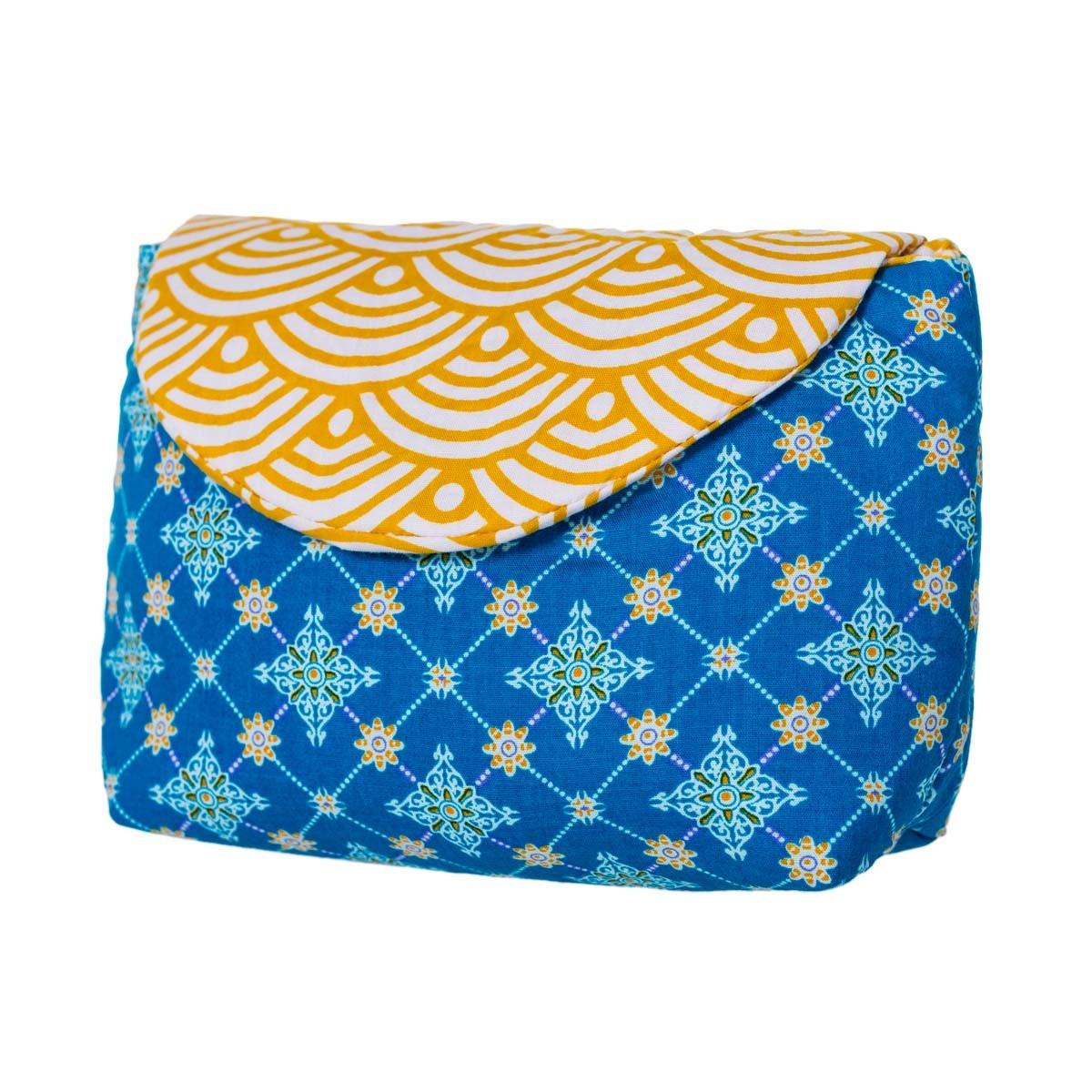Pochette coton jaune et bleu Najima