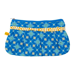 Trousse coton bleu et jaune Najima