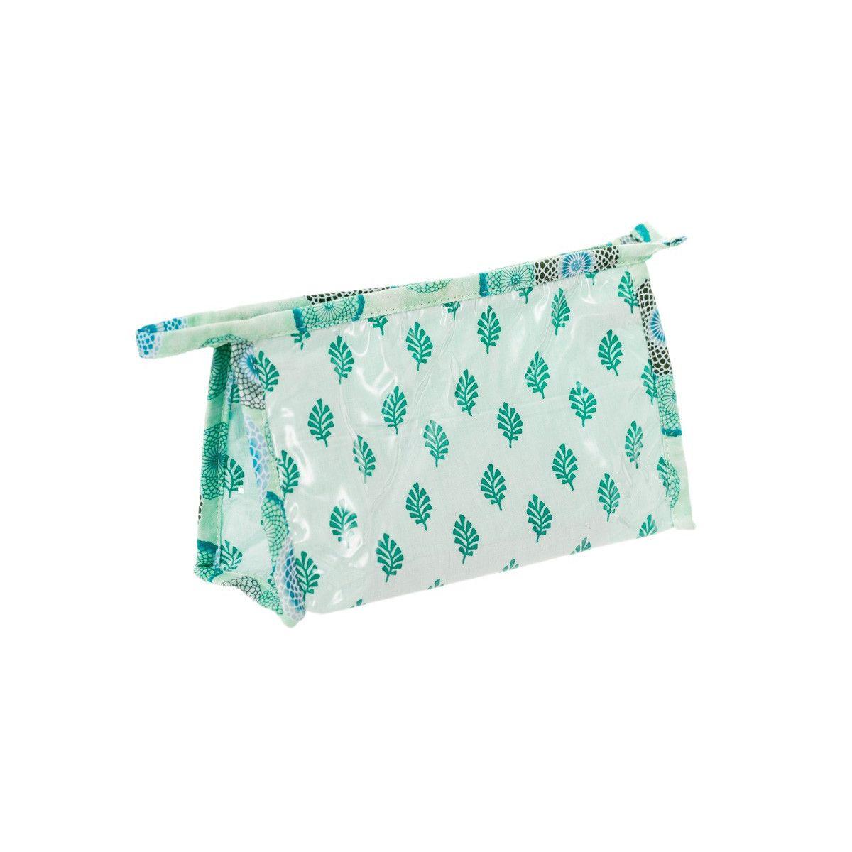 Petite trousse de toilette fantaisie vert et blanc Blue dahlia