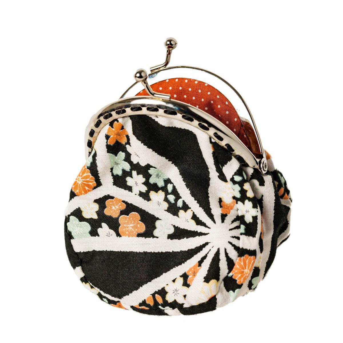 Porte-monnaie clip rétro noir orange