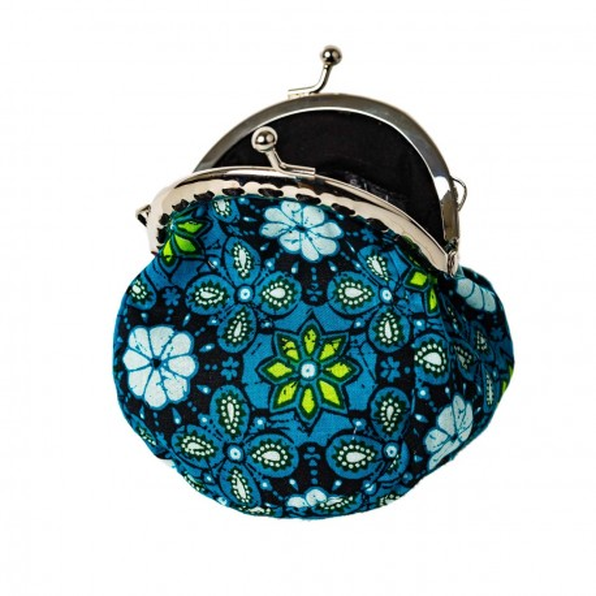 Porte-monnaie clip rétro tissu fantaisie bleu