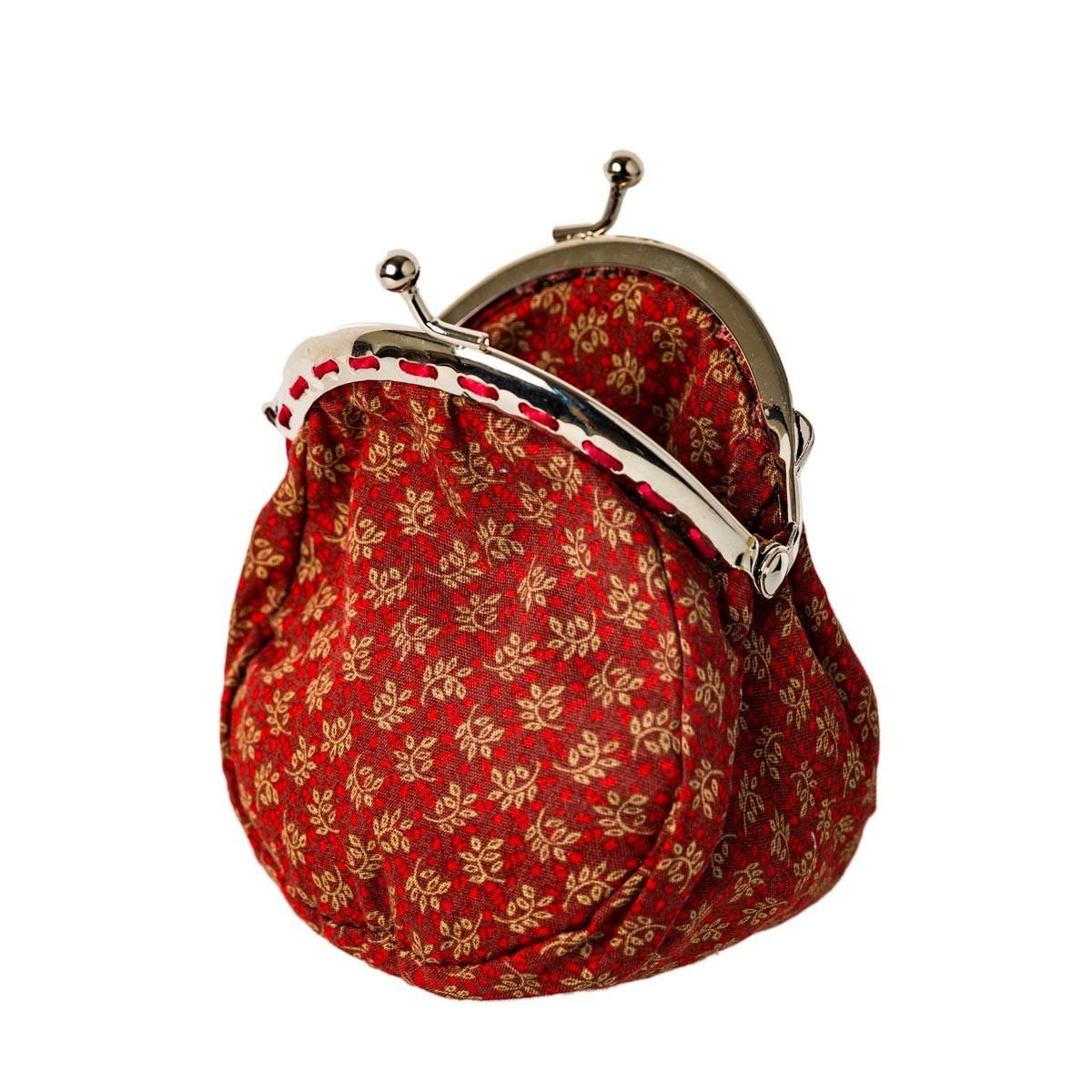 Porte-monnaie clip rétro rouge