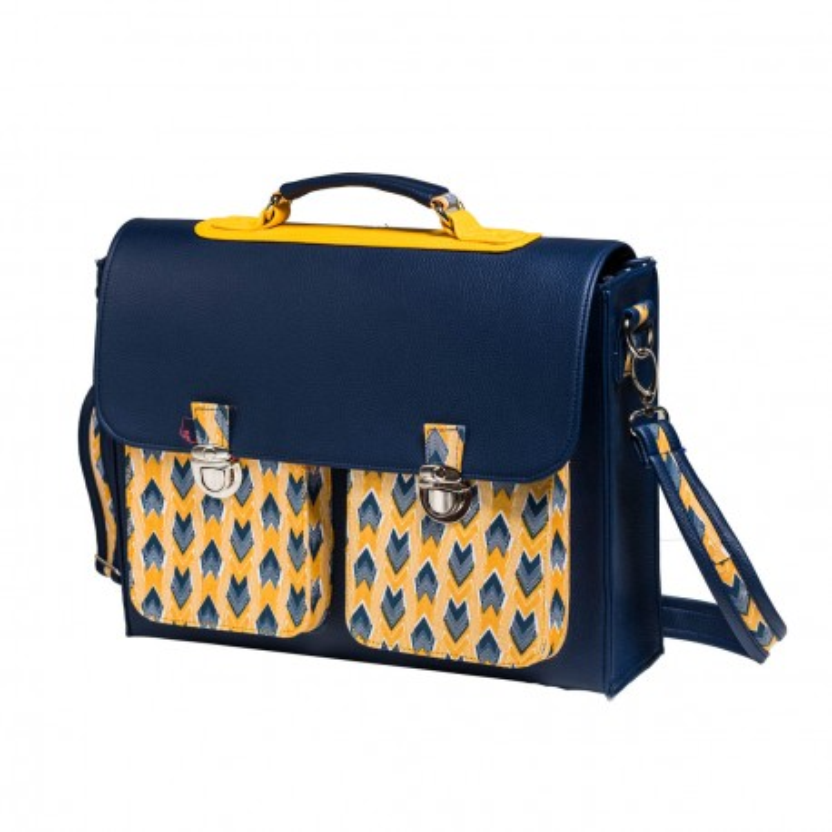 CCartable sacoche femme rétro jaunet bleu Panah