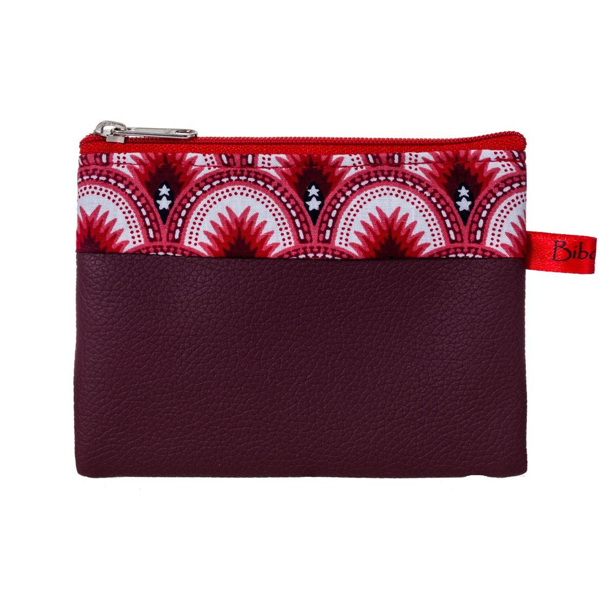 Porte-monnaie pochette zippé femme tissu rouge