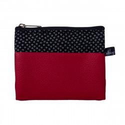 Porte-monnaie pochette zippé femme tissu rouge et noir Arati
