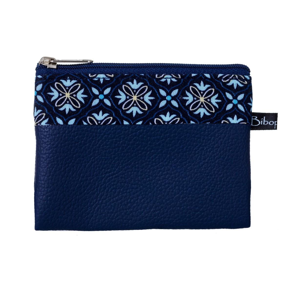 Porte-monnaie pochette zippé femme tissu bleu original Milo