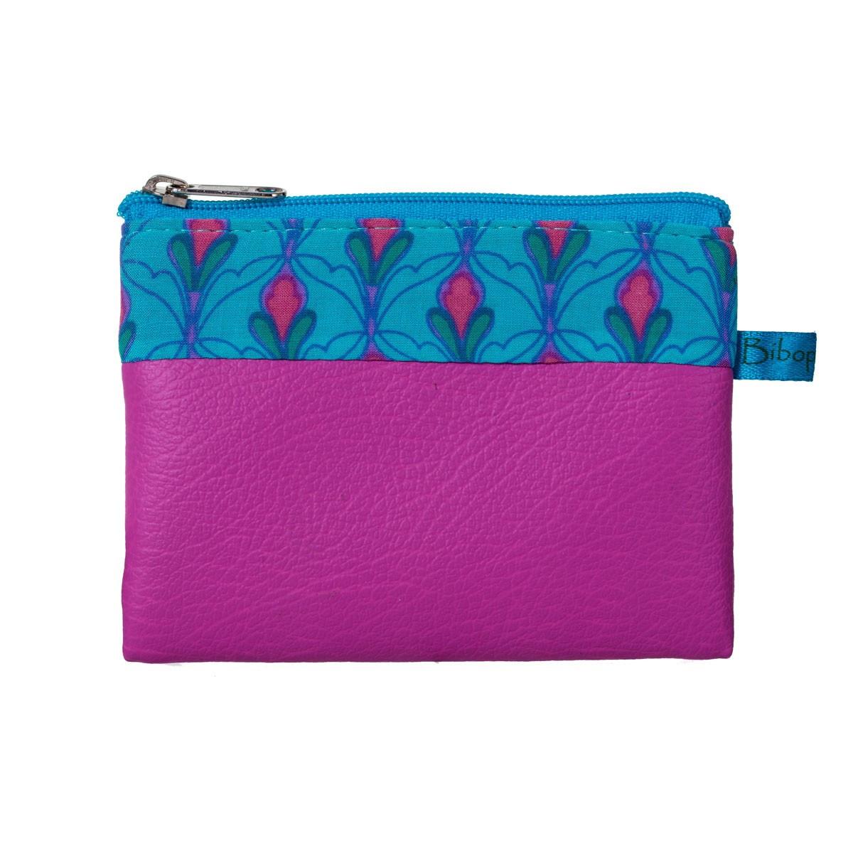 Porte-monnaie pochette zippé fille tissu rose et bleu Tulipe