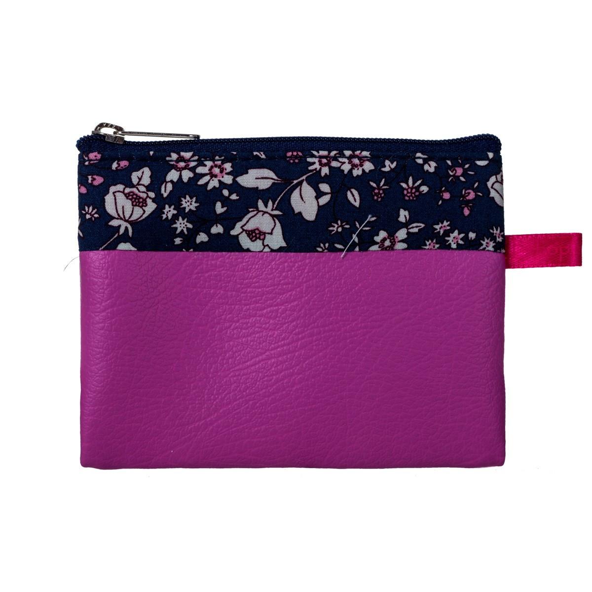 Porte-monnaie pochette zippé fille tissu rose fleurs Zélie