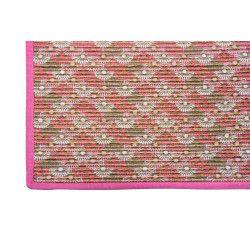 Tapis déco chambre salon tissu or et rose