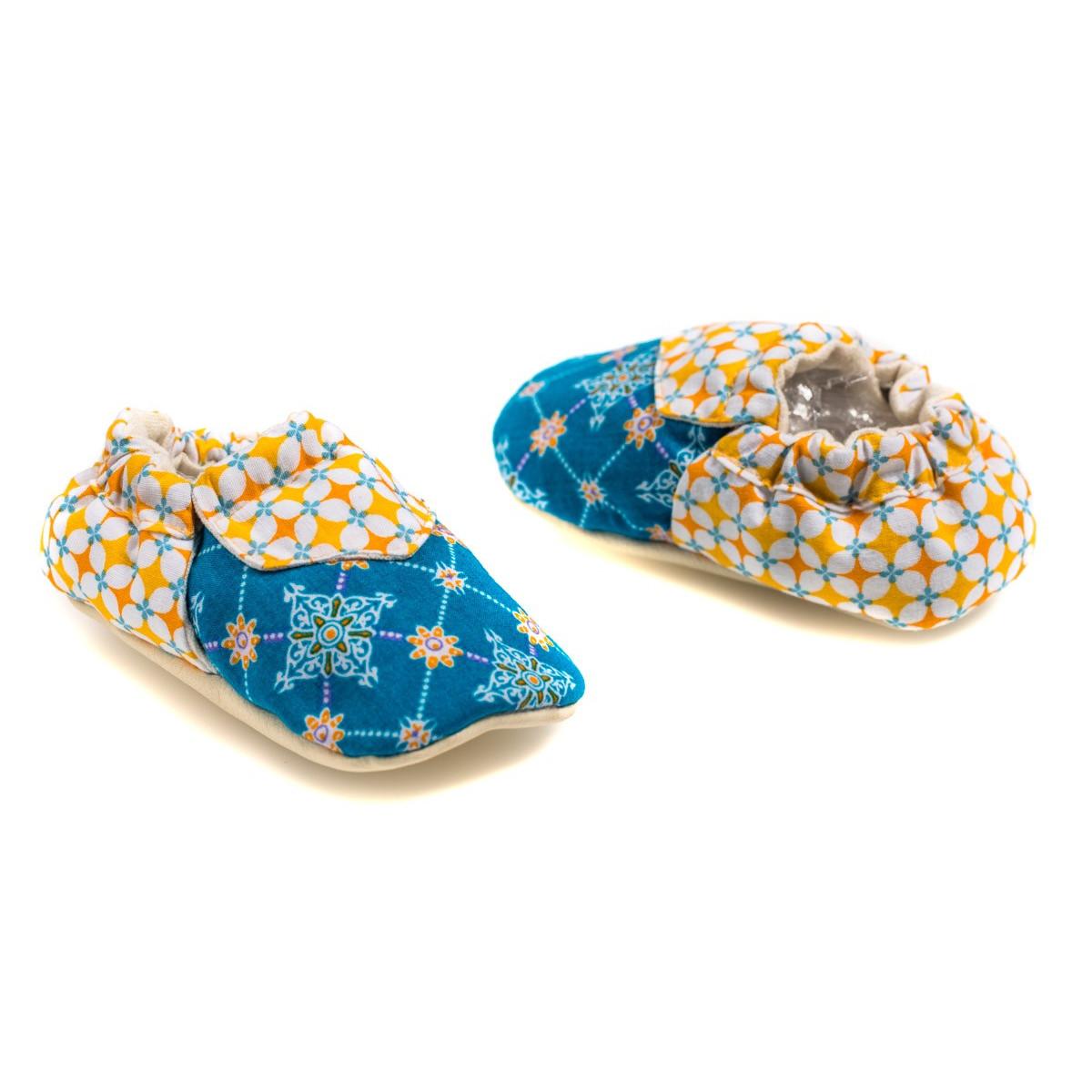 Chaussons souples bébé 0-12 mois tissu Najima